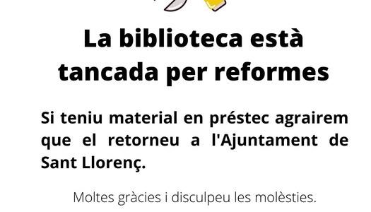 BIBLIOTECA TANCADA PER REFORMES