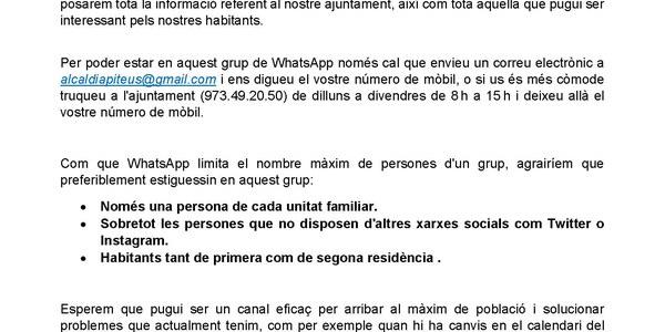 Canal de WhatsApp d'informació municipal